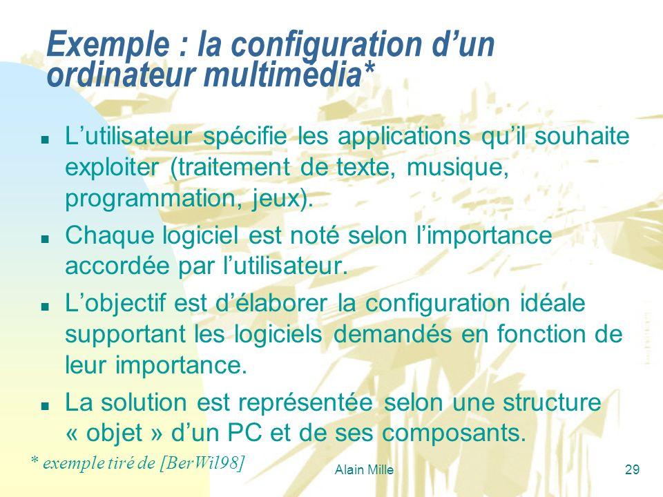 Alain Mille29 Exemple : la configuration dun ordinateur multimédia* n Lutilisateur spécifie les applications quil souhaite exploiter (traitement de te