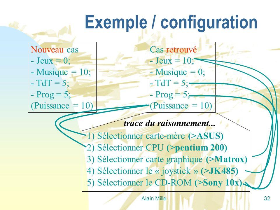 Alain Mille32 Exemple / configuration Nouveau cas - Jeux = 0; - Musique = 10; - TdT = 5; - Prog = 5; (Puissance = 10) Cas retrouvé - Jeux = 10; - Musi