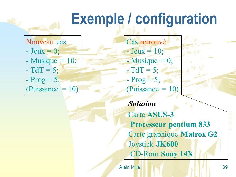 Alain Mille39 Exemple / configuration Nouveau cas - Jeux = 0; - Musique = 10; - TdT = 5; - Prog = 5; (Puissance = 10) Cas retrouvé - Jeux = 10; - Musi