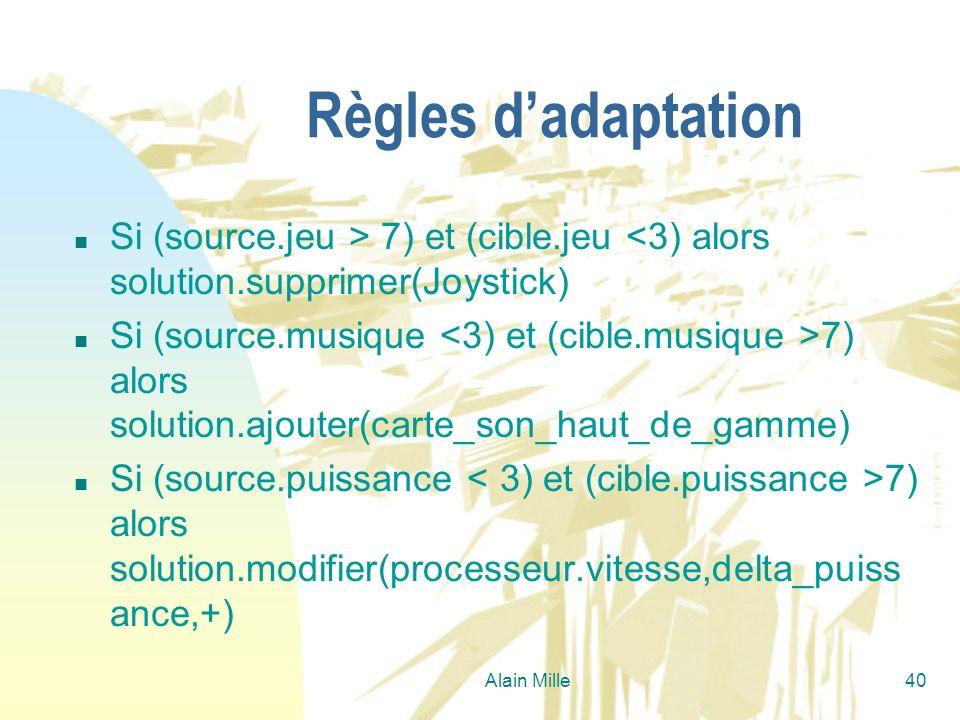 Alain Mille40 Règles dadaptation n Si (source.jeu > 7) et (cible.jeu <3) alors solution.supprimer(Joystick) n Si (source.musique 7) alors solution.ajo