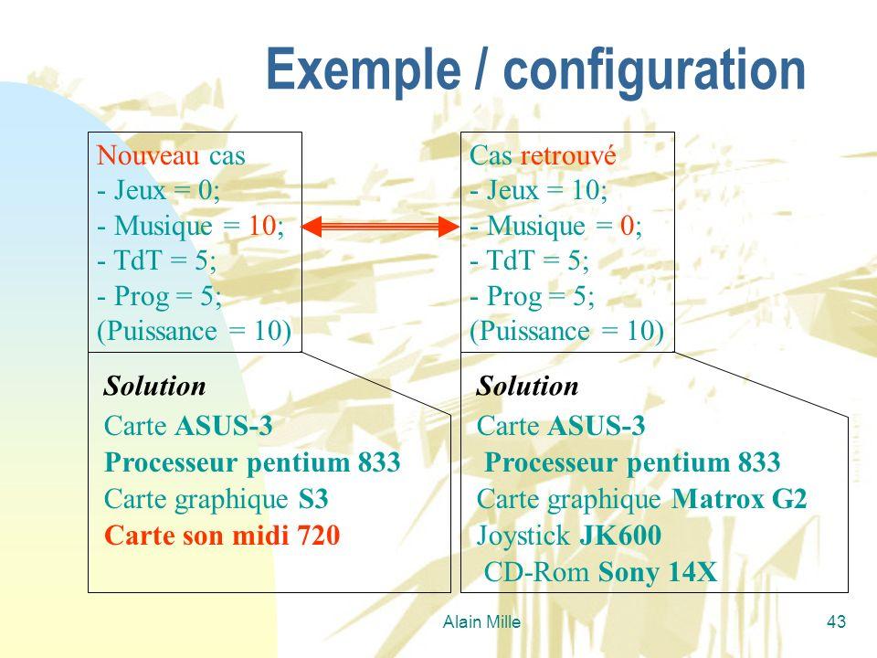 Alain Mille43 Exemple / configuration Nouveau cas - Jeux = 0; - Musique = 10; - TdT = 5; - Prog = 5; (Puissance = 10) Cas retrouvé - Jeux = 10; - Musi