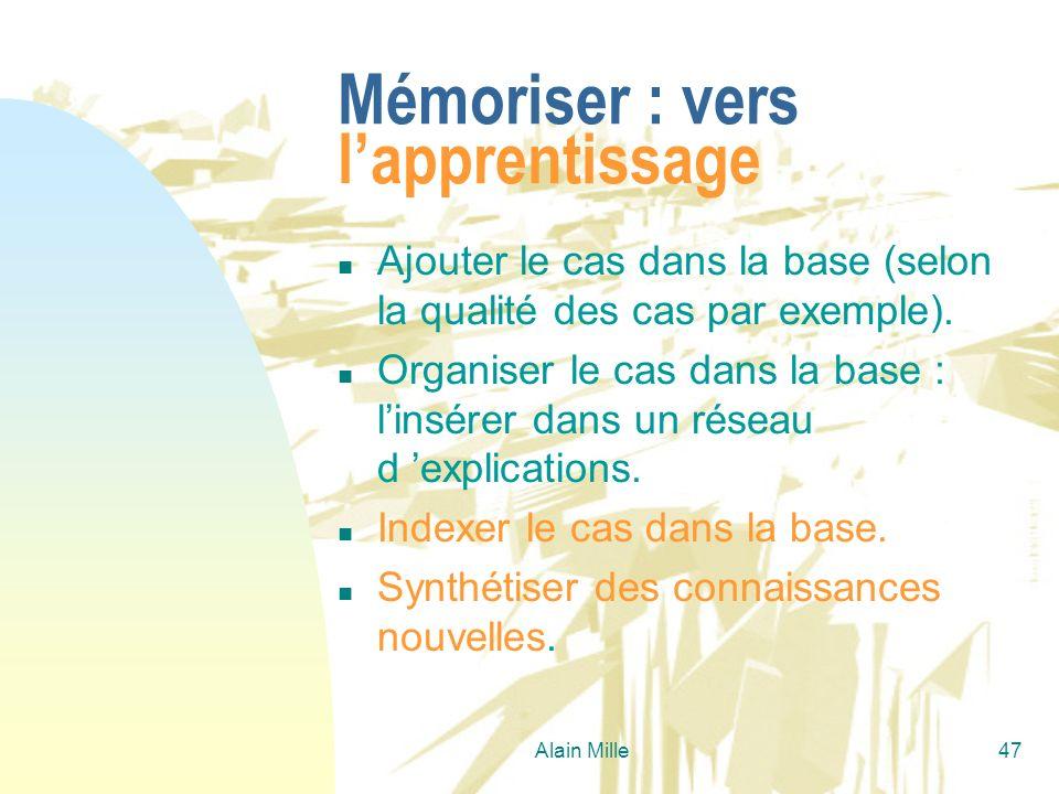 Alain Mille47 Mémoriser : vers lapprentissage n Ajouter le cas dans la base (selon la qualité des cas par exemple). n Organiser le cas dans la base :