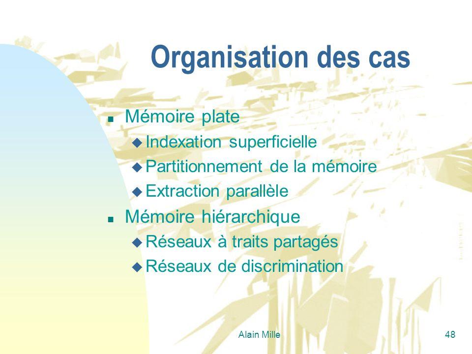 Alain Mille48 Organisation des cas n Mémoire plate u Indexation superficielle u Partitionnement de la mémoire u Extraction parallèle n Mémoire hiérarc