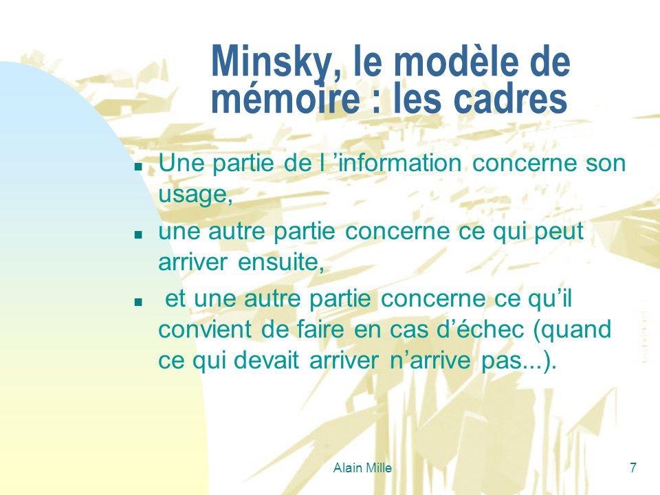 Alain Mille7 Minsky, le modèle de mémoire : les cadres n Une partie de l information concerne son usage, n une autre partie concerne ce qui peut arriv