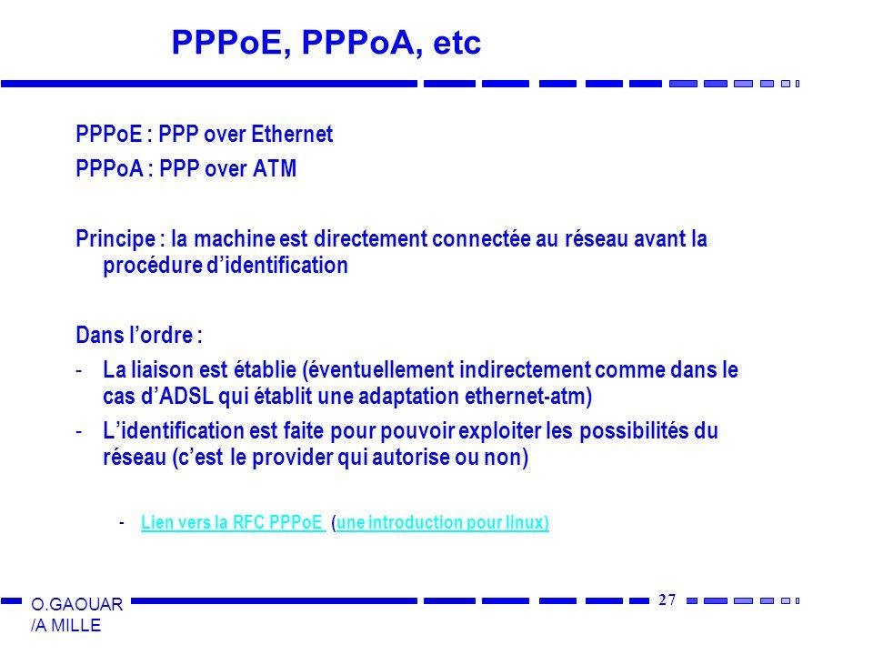 27 O.GAOUAR /A MILLE PPPoE, PPPoA, etc PPPoE : PPP over Ethernet PPPoA : PPP over ATM Principe : la machine est directement connectée au réseau avant la procédure didentification Dans lordre : - La liaison est établie (éventuellement indirectement comme dans le cas dADSL qui établit une adaptation ethernet-atm) - Lidentification est faite pour pouvoir exploiter les possibilités du réseau (cest le provider qui autorise ou non) - Lien vers la RFC PPPoE (une introduction pour linux) Lien vers la RFC PPPoE une introduction pour linux)