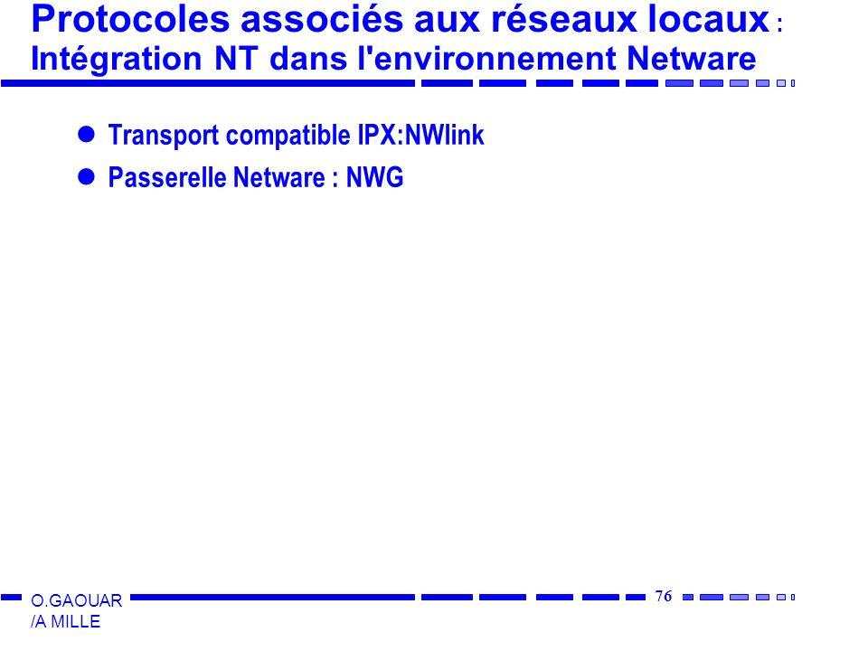 76 O.GAOUAR /A MILLE Protocoles associés aux réseaux locaux : Intégration NT dans l environnement Netware Transport compatible IPX:NWlink Passerelle Netware : NWG