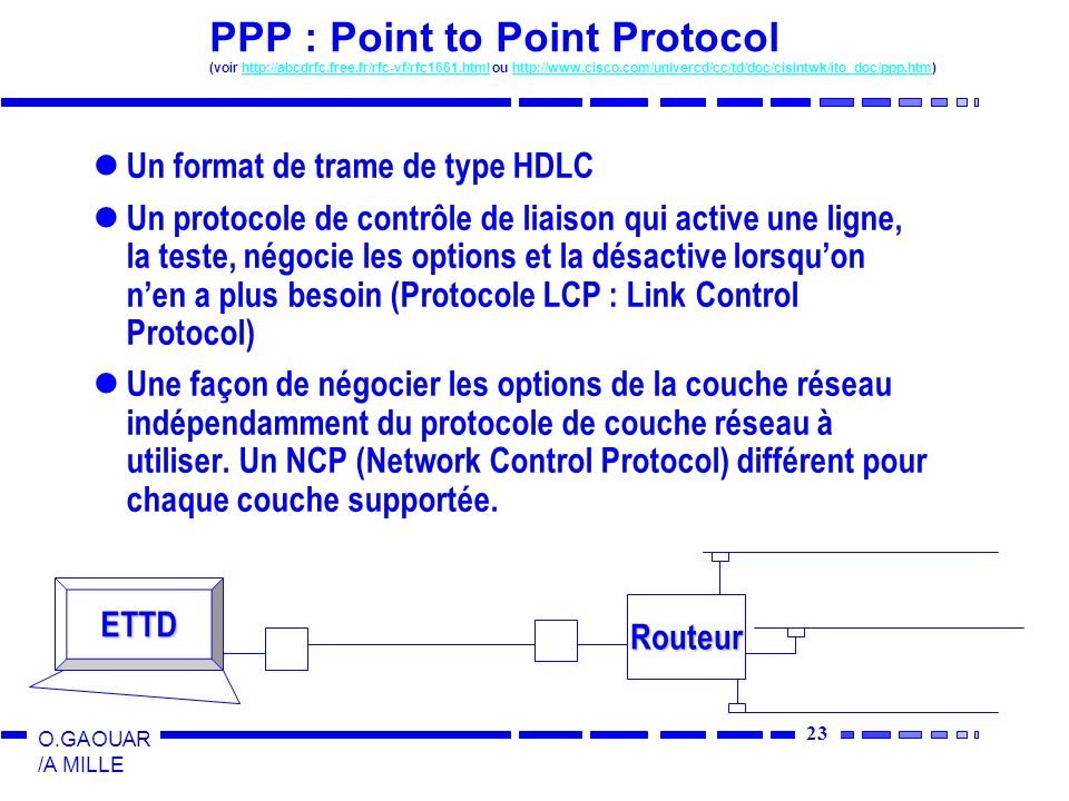 24 O.GAOUAR /A MILLE PPP : Point to Point Protocol Format de la trame PPP (mode non numéroté) 01111110 11111111 00000011 Protocole Charge Utile Contrôle 01111110 Fanion Adresse Commande 1 ou 2 o 2 ou 4 o Fanion Protocole : indique quel est le type de paquet contenu dans « charge utile » Protocole : indique quel est le type de paquet contenu dans « charge utile » Protocoles commençant par 0 : protocoles réseau (IP, IPX, AppleTalk…) Protocoles commençant par 0 : protocoles réseau (IP, IPX, AppleTalk…) Protocoles commençant par 1 : protocoles contrôles réseau (LCP, NCPs) Protocoles commençant par 1 : protocoles contrôles réseau (LCP, NCPs) Charge utile : valeur par défaut 1500 octets Charge utile : valeur par défaut 1500 octets La longueur des champs protocoles et contrôles sont négociables à La longueur des champs protocoles et contrôles sont négociables à létablissement de la liaison (LCP)