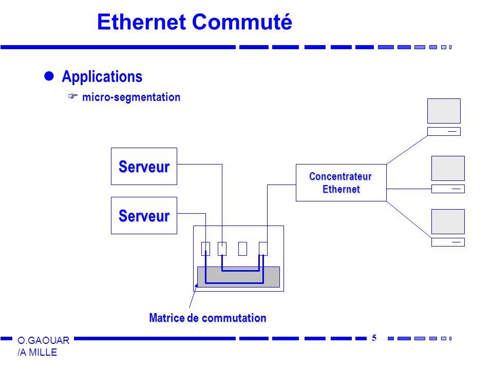 6 O.GAOUAR /A MILLE Ethernet Commuté Applications Collapsed-backbone Réseaux virtuels Remplace pont et routeur (routage limité) Ethernet isochrone (temps réel : voix + images) Norme 802.9 - Isoenet.