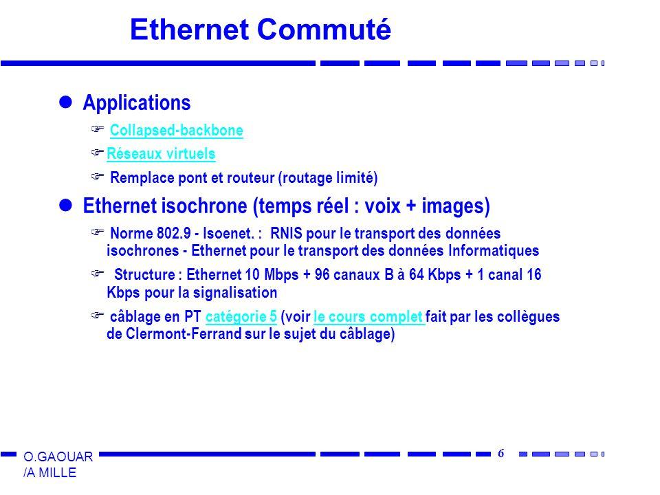 6 O.GAOUAR /A MILLE Ethernet Commuté Applications Collapsed-backbone Réseaux virtuels Remplace pont et routeur (routage limité) Ethernet isochrone (te