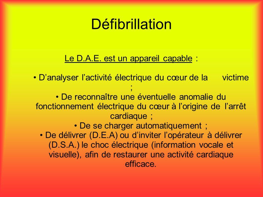 Défibrillation Le D.A.E. est un appareil capable : Danalyser lactivité électrique du cœur de la victime ; De reconnaître une éventuelle anomalie du fo