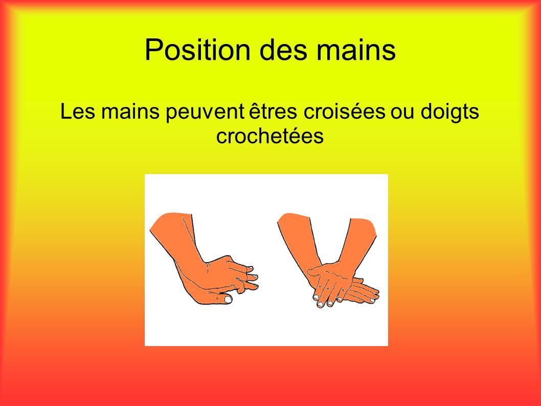 Position des mains Les mains peuvent êtres croisées ou doigts crochetées