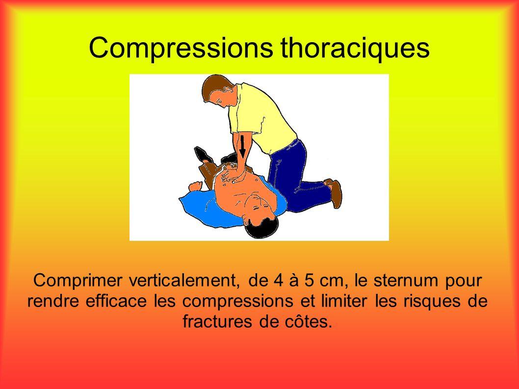 Compressions thoraciques Comprimer verticalement, de 4 à 5 cm, le sternum pour rendre efficace les compressions et limiter les risques de fractures de côtes.