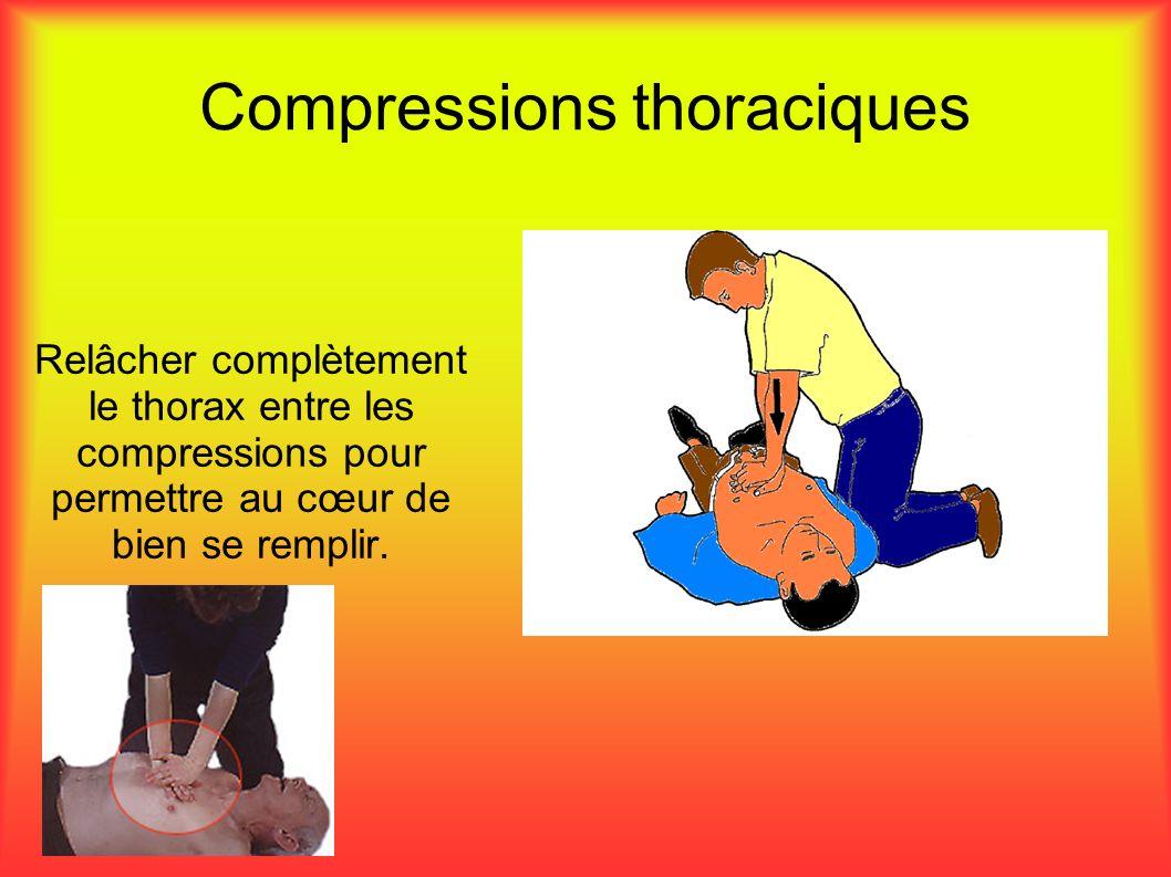 Compressions thoraciques Relâcher complètement le thorax entre les compressions pour permettre au cœur de bien se remplir.
