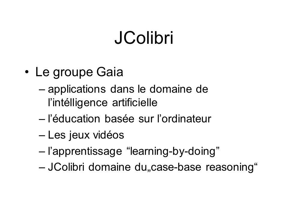 JColibri Consiste en –Bibliothèque dapplications ontologiques –CBROnto (direction par cas et déscription de méthodes de solution) Application orienté objet