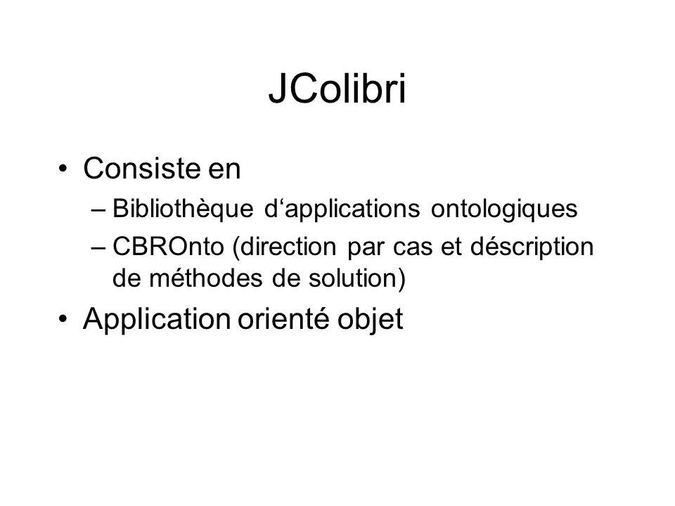 JColibri Consiste en –Bibliothèque dapplications ontologiques –CBROnto (direction par cas et déscription de méthodes de solution) Application orienté