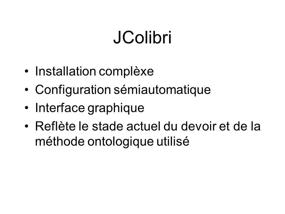 JColibri Installation complèxe Configuration sémiautomatique Interface graphique Reflète le stade actuel du devoir et de la méthode ontologique utilis