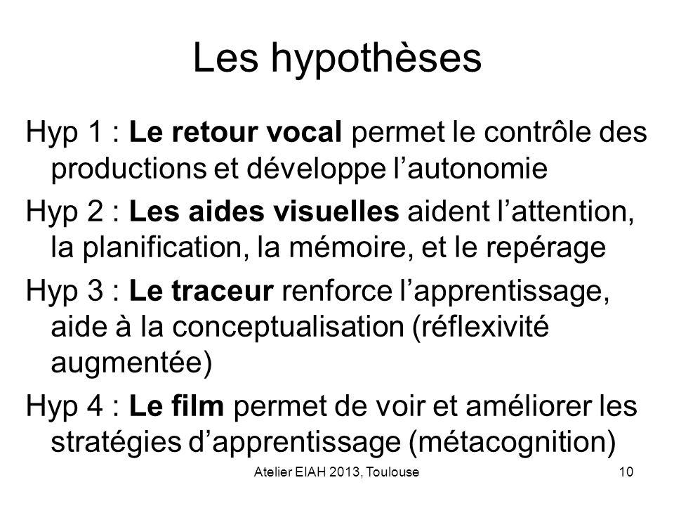 Atelier EIAH 2013, Toulouse10 Les hypothèses Hyp 1 : Le retour vocal permet le contrôle des productions et développe lautonomie Hyp 2 : Les aides visu