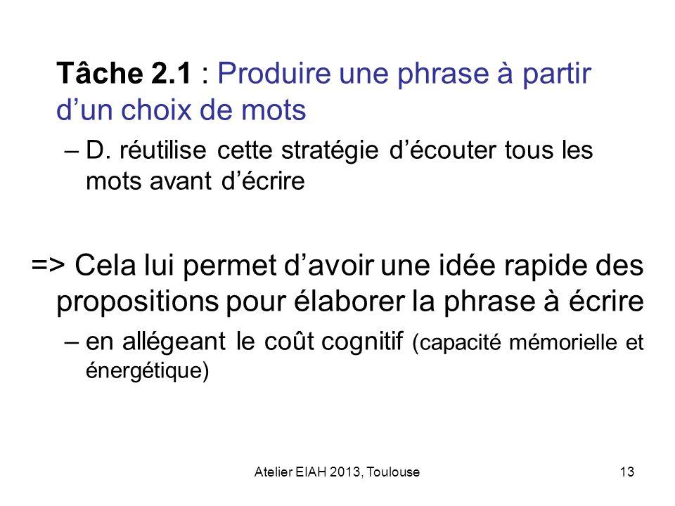 Atelier EIAH 2013, Toulouse13 Tâche 2.1 : Produire une phrase à partir dun choix de mots –D. réutilise cette stratégie découter tous les mots avant dé