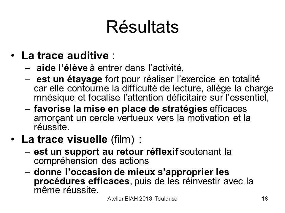 Atelier EIAH 2013, Toulouse18 Résultats La trace auditive : – aide lélève à entrer dans lactivité, – est un étayage fort pour réaliser lexercice en to