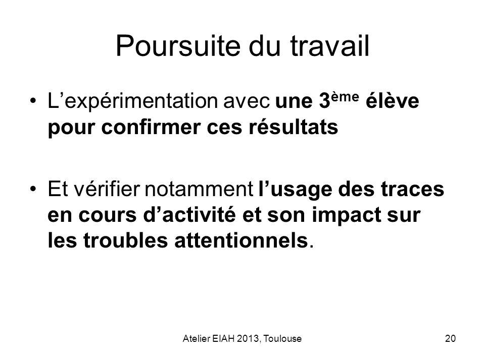 Atelier EIAH 2013, Toulouse20 Poursuite du travail Lexpérimentation avec une 3 ème élève pour confirmer ces résultats Et vérifier notamment lusage des
