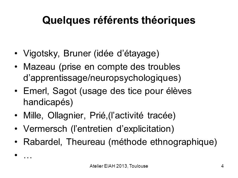 Atelier EIAH 2013, Toulouse4 Vigotsky, Bruner (idée détayage) Mazeau (prise en compte des troubles dapprentissage/neuropsychologiques) Emerl, Sagot (u