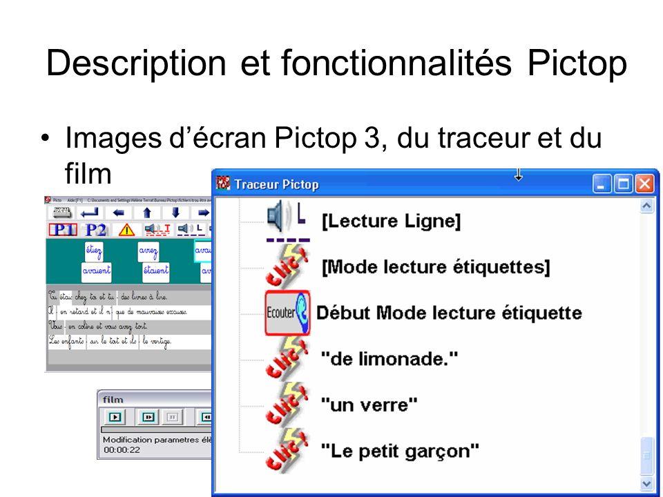 Atelier EIAH 2013, Toulouse7 Description et fonctionnalités Pictop Images décran Pictop 3, du traceur et du film
