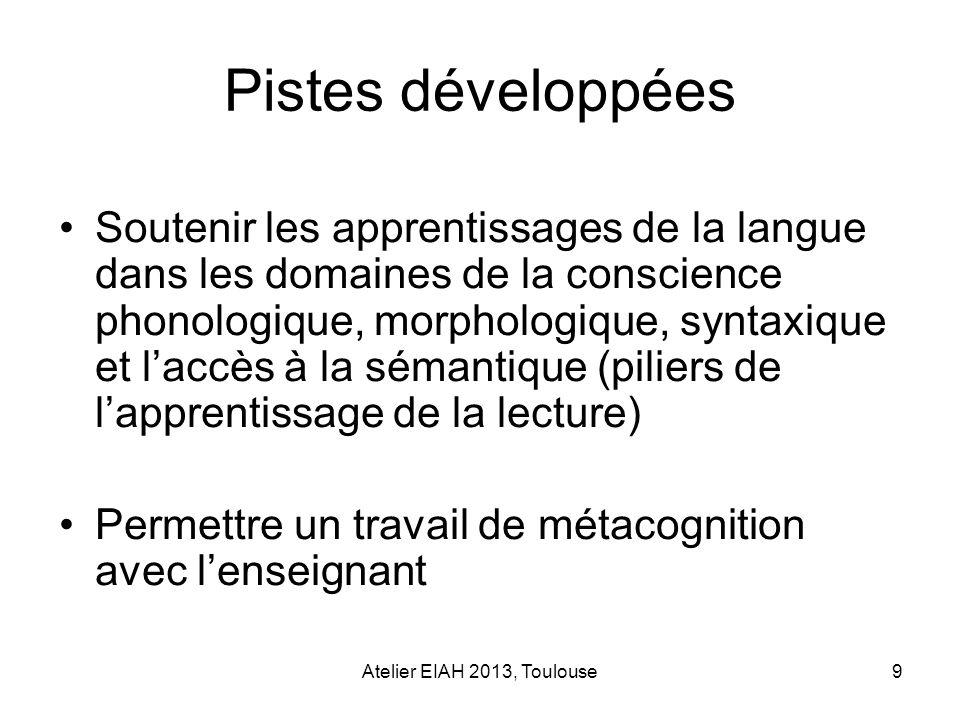 Atelier EIAH 2013, Toulouse9 Pistes développées Soutenir les apprentissages de la langue dans les domaines de la conscience phonologique, morphologiqu