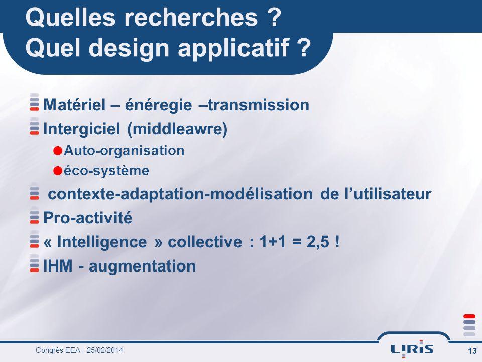Congrès EEA - 25/02/2014 13 Quelles recherches . Quel design applicatif .