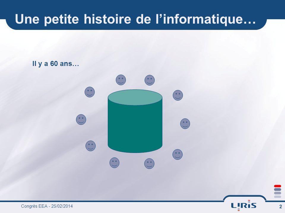 Congrès EEA - 25/02/2014 2 Une petite histoire de linformatique… Il y a 60 ans…