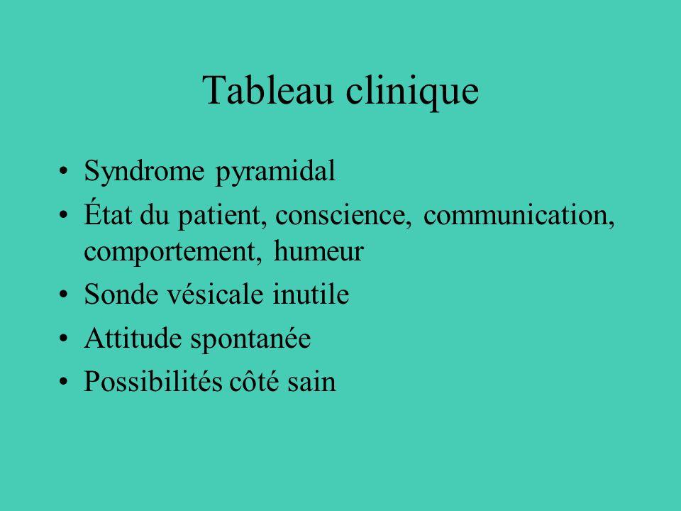 Tableau clinique Syndrome pyramidal État du patient, conscience, communication, comportement, humeur Sonde vésicale inutile Attitude spontanée Possibi