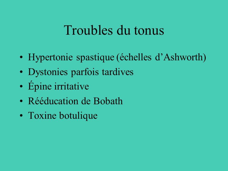 Troubles du tonus Hypertonie spastique (échelles dAshworth) Dystonies parfois tardives Épine irritative Rééducation de Bobath Toxine botulique