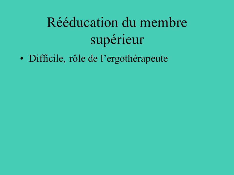 Rééducation du membre supérieur Difficile, rôle de lergothérapeute