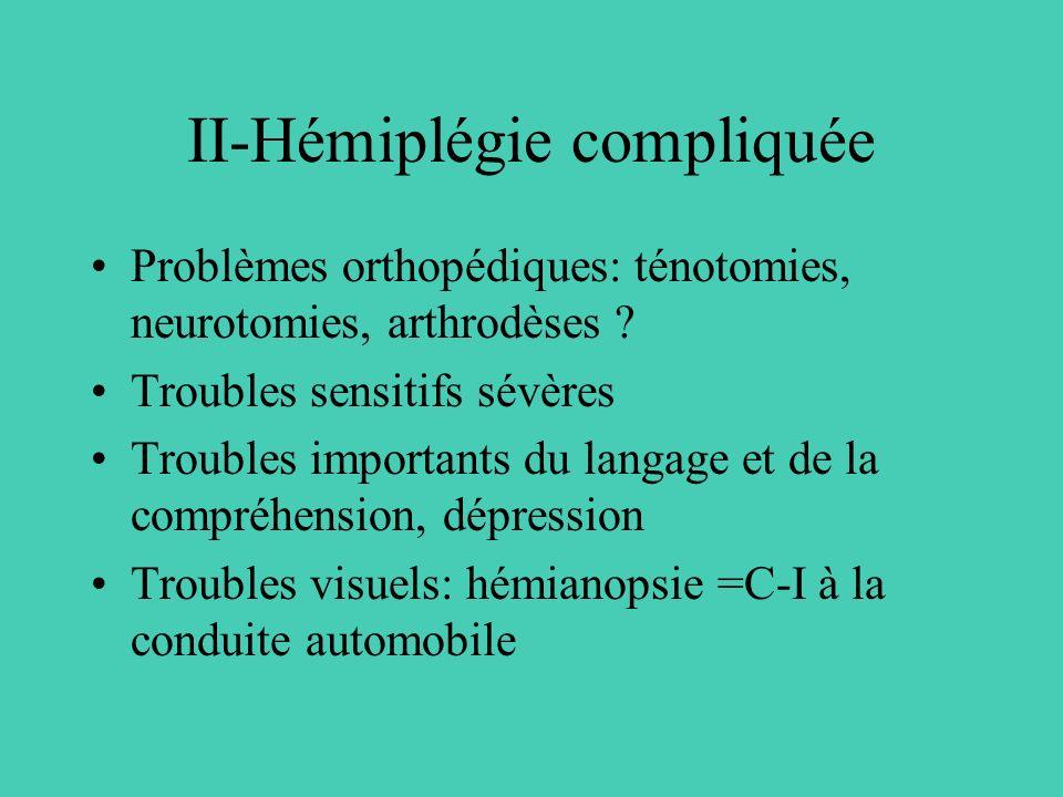 II-Hémiplégie compliquée Problèmes orthopédiques: ténotomies, neurotomies, arthrodèses ? Troubles sensitifs sévères Troubles importants du langage et