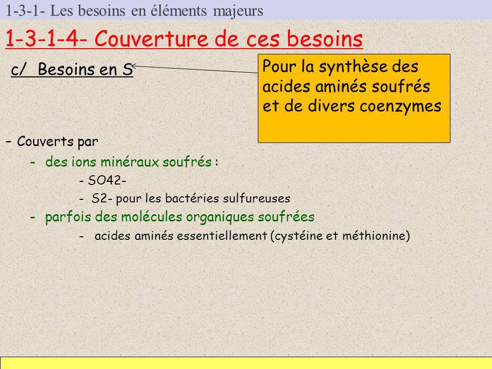 1-3-1- Les besoins en éléments majeurs 1-3-1-4- Couverture de ces besoins c/ Besoins en S - Couverts par -des ions minéraux soufrés : - SO42- -S2- pou