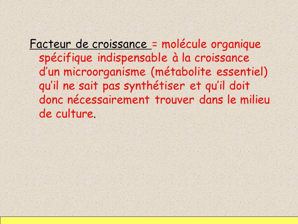 Facteur de croissance = molécule organique spécifique indispensable à la croissance dun microorganisme (métabolite essentiel) quil ne sait pas synthét
