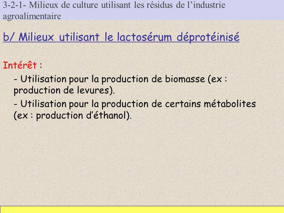 3-2-1- Milieux de culture utilisant les résidus de lindustrie agroalimentaire b/ Milieux utilisant le lactosérum déprotéinisé Intérêt : - Utilisation