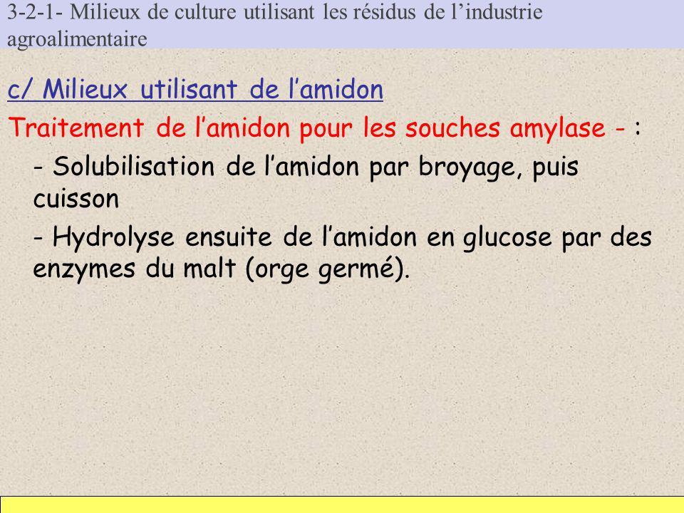 3-2-1- Milieux de culture utilisant les résidus de lindustrie agroalimentaire c/ Milieux utilisant de lamidon Traitement de lamidon pour les souches a