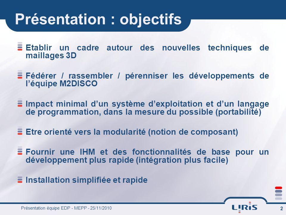 Présentation équipe EDP - MEPP - 25/11/2010 2 Présentation : objectifs Etablir un cadre autour des nouvelles techniques de maillages 3D Fédérer / rass