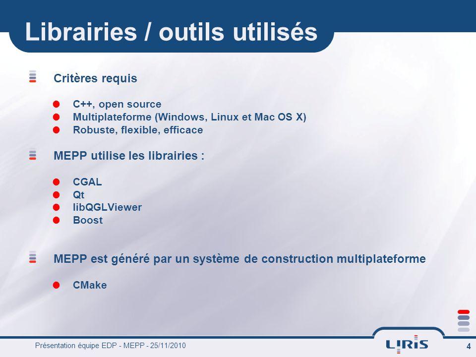 Présentation équipe EDP - MEPP - 25/11/2010 4 Librairies / outils utilisés Critères requis C++, open source Multiplateforme (Windows, Linux et Mac OS