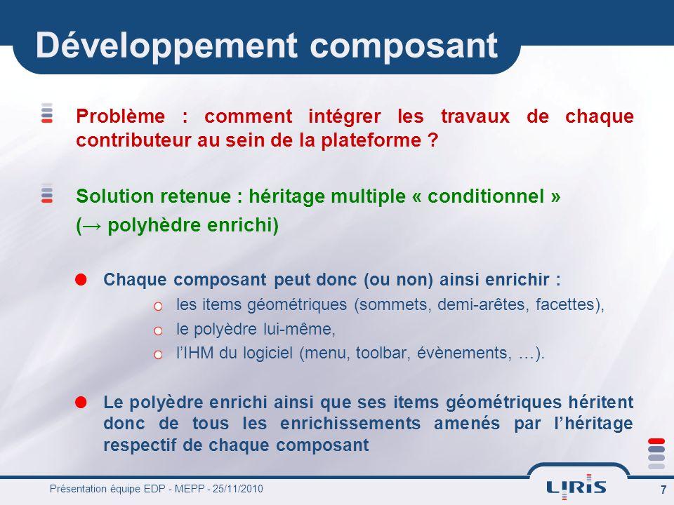 Présentation équipe EDP - MEPP - 25/11/2010 7 Développement composant Problème : comment intégrer les travaux de chaque contributeur au sein de la pla