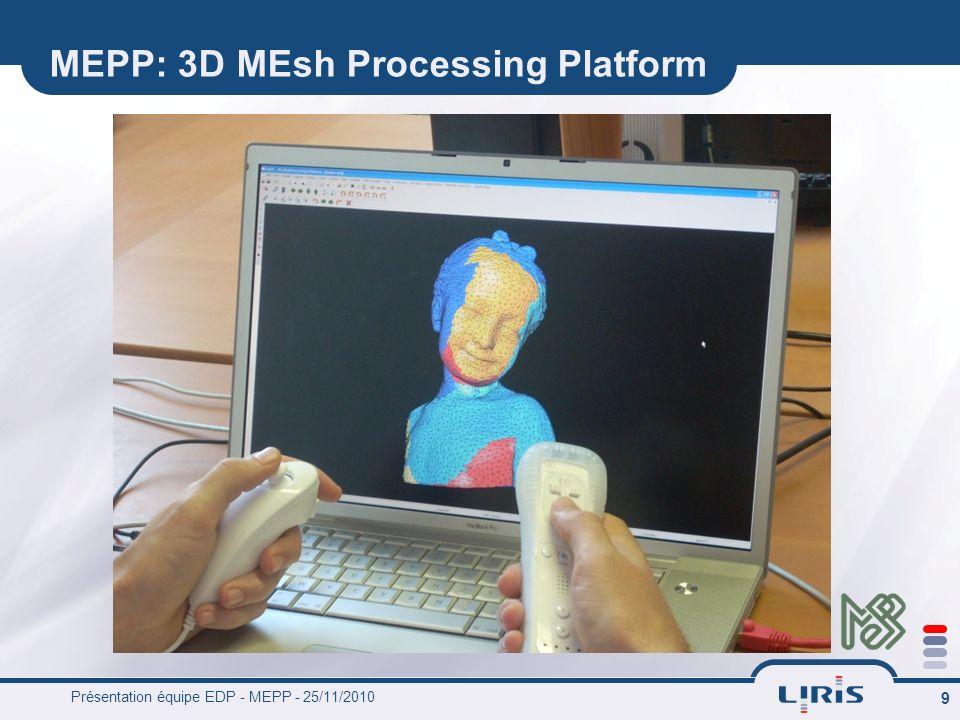 Présentation équipe EDP - MEPP - 25/11/2010 9 MEPP: 3D MEsh Processing Platform