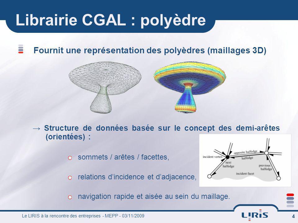 Le LIRIS à la rencontre des entreprises - MEPP - 03/11/2009 4 Librairie CGAL : polyèdre Fournit une représentation des polyèdres (maillages 3D) Struct