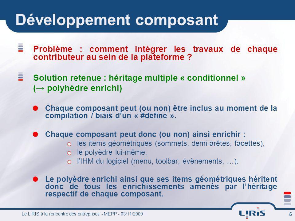 Le LIRIS à la rencontre des entreprises - MEPP - 03/11/2009 5 Développement composant Problème : comment intégrer les travaux de chaque contributeur a