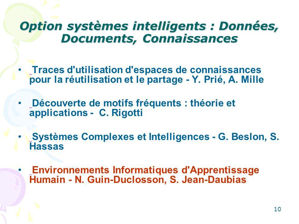 10 Option systèmes intelligents : Données, Documents, Connaissances Traces d utilisation d espaces de connaissances pour la réutilisation et le partage - Y.
