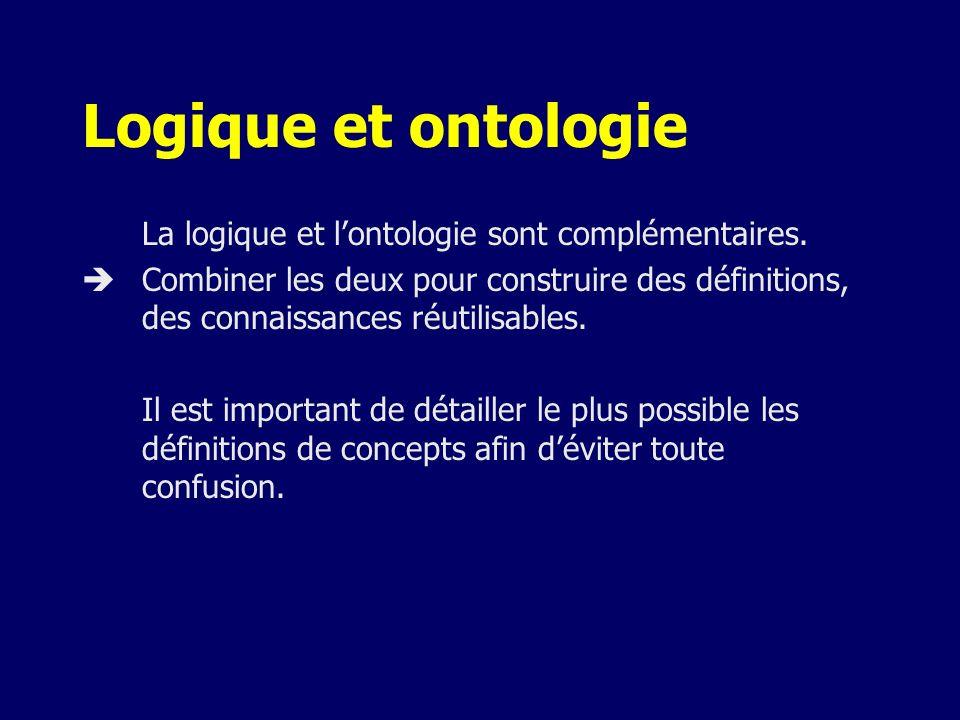 Logique et ontologie La logique et lontologie sont complémentaires. Combiner les deux pour construire des définitions, des connaissances réutilisables