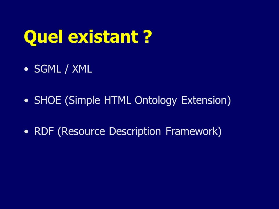 Un peu de RDF <rdf:RDF xmlns:rdf = http://www.w3.org/1999/02/22-rdf-syntax-ns#http://www.w3.org/1999/02/22-rdf-syntax-ns# xmlns:rdfs = http://www.w3.org/2000/01/rdf-schema#http://www.w3.org/2000/01/rdf-schema# xmlns:dc = http://purl.org/dc/elements/1.1/ > <rdf:Description about=http://exemple.org/montruc http://exemple.org/montruc dc:title= Rapport financier sur montruc dc:description= $three $bar $thousands $dollars $from 1998 $through 2000 dc:publisher= Organisation Exemple dc:date= 2000-04-11 dc:format= image/svg+xml dc:language= fr > Irving BIRD Mary LAMBERT