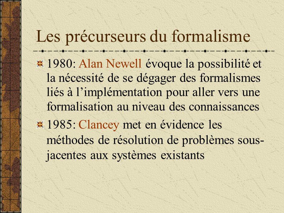 Les précurseurs du formalisme 1980: Alan Newell évoque la possibilité et la nécessité de se dégager des formalismes liés à limplémentation pour aller vers une formalisation au niveau des connaissances 1985: Clancey met en évidence les méthodes de résolution de problèmes sous- jacentes aux systèmes existants