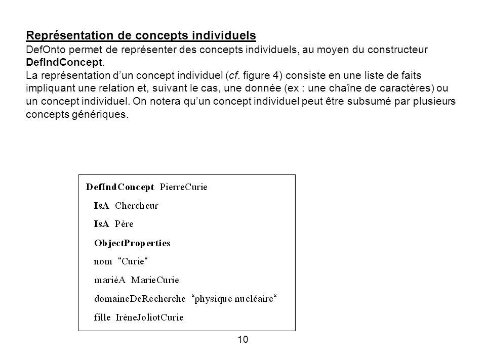 10 Représentation de concepts individuels DefOnto permet de représenter des concepts individuels, au moyen du constructeur DefIndConcept.
