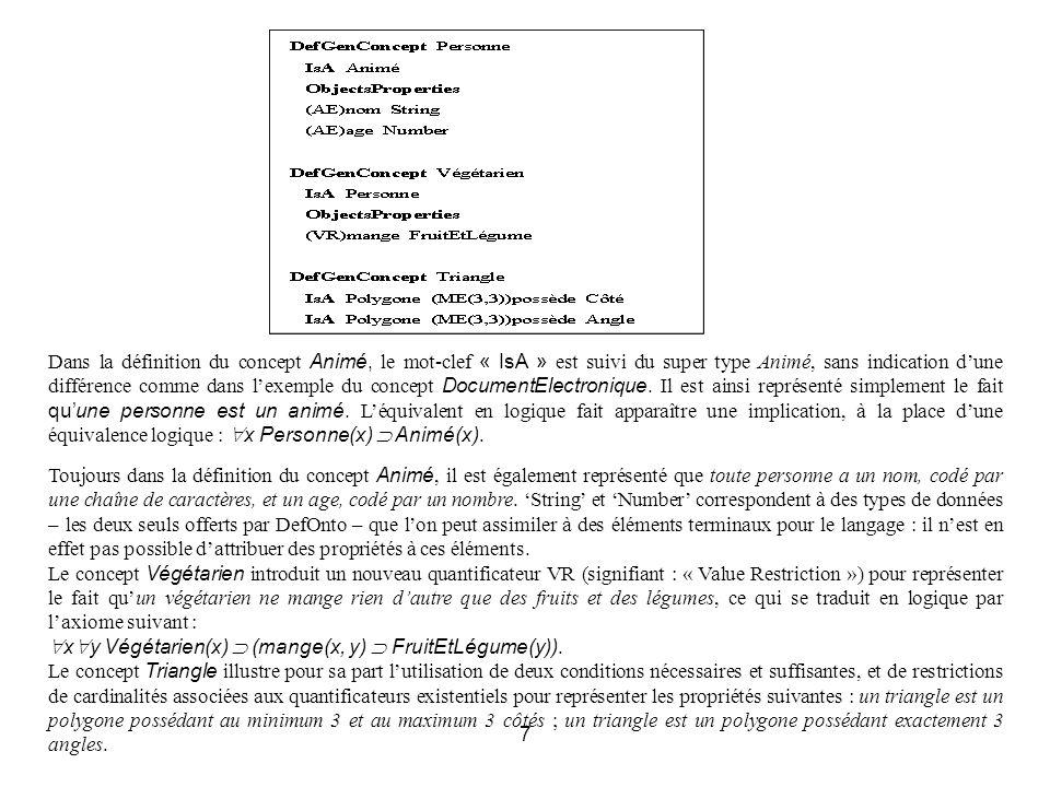 7 Dans la définition du concept Animé, le mot-clef « IsA » est suivi du super type Animé, sans indication dune différence comme dans lexemple du concept DocumentElectronique.
