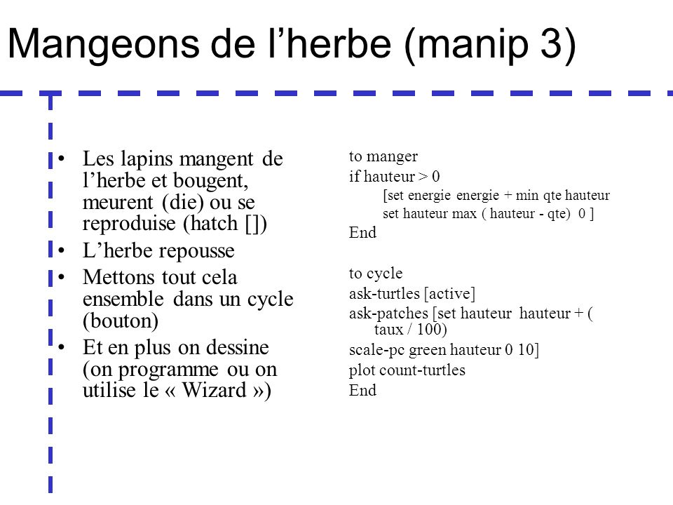 Mangeons de lherbe (manip 3) Les lapins mangent de lherbe et bougent, meurent (die) ou se reproduise (hatch []) Lherbe repousse Mettons tout cela ensemble dans un cycle (bouton) Et en plus on dessine (on programme ou on utilise le « Wizard ») to manger if hauteur > 0 [set energie energie + min qte hauteur set hauteur max ( hauteur - qte) 0 ] End to cycle ask-turtles [active] ask-patches [set hauteur hauteur + ( taux / 100) scale-pc green hauteur 0 10] plot count-turtles End